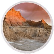 The Badlands With Another Sunrise Round Beach Towel