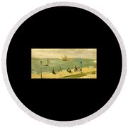 The Beach At Petit-dalles Also Known As On The Beach - 1873 - Virginia Museum Of Fine Arts Usa Round Beach Towel