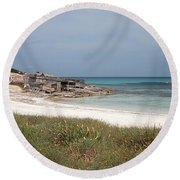 The Boathouse And The Beach Round Beach Towel