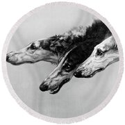 The Borzois, Black And White Sketch, 3 Russian Wolfhounds Round Beach Towel