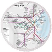 The Boston Pubway Map Iv Round Beach Towel