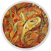 The Butterfly And Pomegranates Round Beach Towel