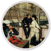 The Captain And The Mate, 1873 Round Beach Towel