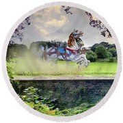 The Carousel Horses Escaping Round Beach Towel