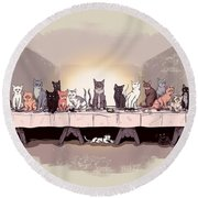 The Cat Supper Round Beach Towel