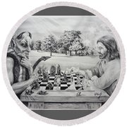 The Chess Game Round Beach Towel