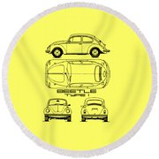 The Classic Beetle Blueprint Round Beach Towel