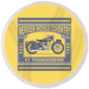 The Classic Thunderbird Motorcycle Round Beach Towel