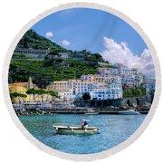 The Colorful Amalfi Coast  Round Beach Towel by Robert Bellomy