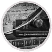 The Constitutional Lawyer In Black And White Round Beach Towel