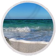 The Crab And The Sea Round Beach Towel