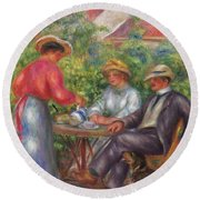 The Cup Of Tea, Or The Garden Round Beach Towel