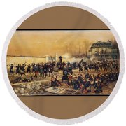 The Defense Of Champigny  Round Beach Towel