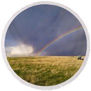 The Enchanted Tractor Round Beach Towel by Carl Young