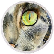 The Eye Of The Kitty Round Beach Towel