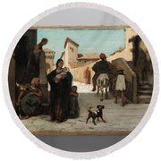 The Fable Of The Miller  His Son  And The Donkey  Round Beach Towel