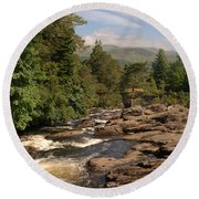 The Falls Of Dochart And Bridge At Killin In Scottish Highlands Round Beach Towel