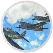 The First Blue Angels - Oil Round Beach Towel
