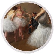 The First Pose, The Ballet Lesson Round Beach Towel