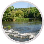 the ford at Etal on river Till Round Beach Towel