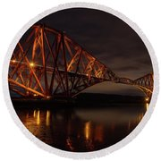 The Forth Bridge Round Beach Towel by Ross G Strachan