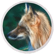 The Fox 235 - Painting Round Beach Towel