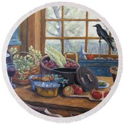 The Good Harvest Country Kitchen By Richard Pranke Round Beach Towel