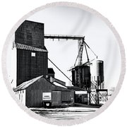 The Grain Elevator Round Beach Towel