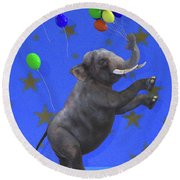 The Happiest Elephant Round Beach Towel
