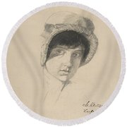 The Head Of A Young Woman Wearing A Bonnet Round Beach Towel
