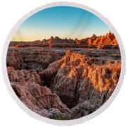 The High And Low Of The Badlands Round Beach Towel