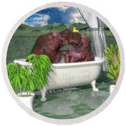 The Hippo Tub Round Beach Towel