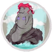 The Little Manatee  Round Beach Towel