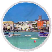 The Long Town  Round Beach Towel