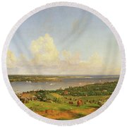 The Narrows From Staten Island Round Beach Towel