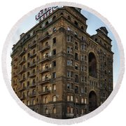The Not So Devine Lorraine Hotel Round Beach Towel by Bill Cannon