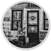 The Old Country Store Black And White Round Beach Towel