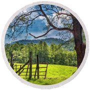 The Old Red Gate Round Beach Towel