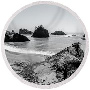The Oregon Coast In Black And White Round Beach Towel by Margaret Pitcher