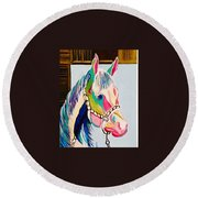 The Pink Horse Round Beach Towel