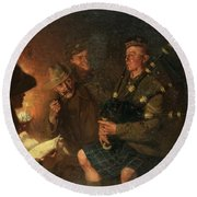 The Pipes By Firelight Round Beach Towel