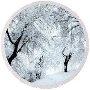 The Pure White Of Snow Round Beach Towel