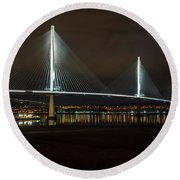 The Queensferry Crossing Round Beach Towel by Ross G Strachan