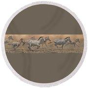 The Race - Zebras Round Beach Towel by Alan M Hunt