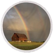 The Red Barn And A Rainbow Round Beach Towel