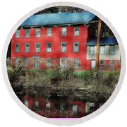 The Red House Along The Autumn Canal Round Beach Towel