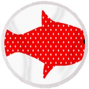 The Red Polka Dot Fish Round Beach Towel