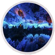 The Reed Flute Cave, In Guangxi Province, China Round Beach Towel