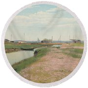 The River And The Harbour At Frederiksvaerk Round Beach Towel