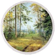 The Road Into The Forest Round Beach Towel